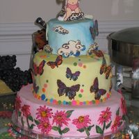 Whimsical Baby Girl This cake is based on a few whimsical bakehouse designs. It was huge, fed about 200!!