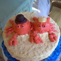 Crab Couple This cake was made for a bride and groom getting married in Maryland (land ofthe crabs). It was for their rehersal dinner. I used crushed...