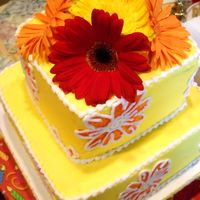 Gerbera Daisy Painted Flowers Cake