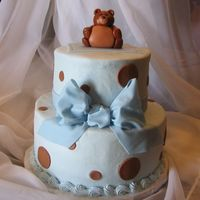"Baby Bear 6"" stacked on 9"", buttercream w/fondant accents & teddy bear, gumpaste bow. The gal doing the shower wanted blue & brown..."