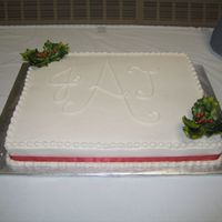 Christmas Wedding Sheet 1/2 sheet cake with buttercream frosting. Coordinates with Christmas wedding cake in my photos. Gumpaste holly from Diane's Cake &amp...