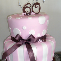 Pink And Brown 60Th Birthday Cake