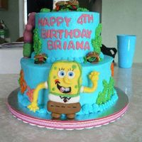 Sponge Bob And Patrick Fun Sponge Bob cake buttercream with fondant sponge bob and patrick.