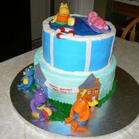 Backyardigans all buttercream with fondant accents. Figures made of fondant and gumpaste