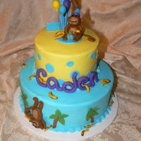 Monkey And Palm Trees buttercream with fondant accents and fondant monkeys
