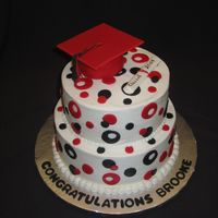 Brooke's Graduation 8 and 10 inch rounds done in school colors. RKT base for cap and done in 50/50 gumpaste fondant mix.