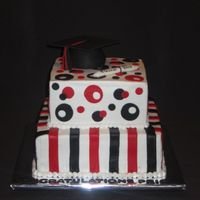 Price's Graduation 8 and 10 inch squares done in school colors. Mom wanted cake different than his friend Brooke so we did stripes on the bottom tier. RKT...