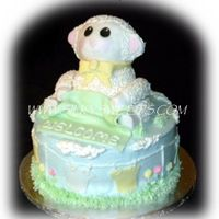 "3D Lamb  3D fondant covered lamb, made out of RKT. 10"" round double layer on bottom. Inspired by a cake here on CC, in the babyshower '09..."
