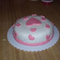 Fondant - White With Pink Hearts I made this cake just for practice. It is fondant.