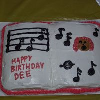 Singing Birthday Cake I made this cake for a fellow choir member's birthday. I was a real rush job. I did the decorating in about 30 minutes!! I used a one...