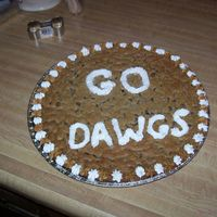 Giant Chocolate Chip Cookie I made this giant cookie for a basketball game. Chocolate chip, decorated with buttercream.