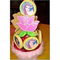 Princess Cookie Centerpiece I made these for my daughter's 5th birthday party. The belle's are photo cookies and the roses are hand-decorated.
