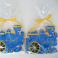 "Little Engine That Could Cookies These cookies came out so huge! They were approx. 8"" each. Thankfully, I only had to make about 30. All royal icing."