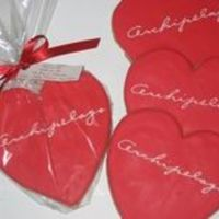 "Valentine's Day Logo Cookies These were Valentine's Day gifts for clients of Archipelago Botanicals. I made 150 of these 6"" hearts."