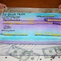 Fundraising Celebration  I made this 'check' cake to celebrate reaching $50 million of our $150 million dollar goal for our campaign at PLU. Its two...