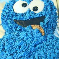 Cookie Monster Cookie Monster cake for a first birthday girl. Chocolate Cake with buttercream frosting and a real choc. chip cookie.
