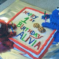 Elmo Cookie Monster Cake copied this cake from others I saw in the galleries. Thanks for the help! I was really pleased with this one. Square cake and used mini...