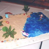 Beach Cake Beach Cake made for a Jimmy Buffett Party. Used Nilla Wafer crumbs for sand, piping gel for water, candy rocks for border, and other...
