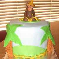 Just Monkey-Ing Around A fun gluten free chocolate chip cake with MMF decorations. I saw someone's monkey on here that had a banana on it's head (there...
