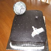 "Star Wars Literally threw this last one together for the school cakewalk. I had fondant ""Deathstar,"" and ships left from one day I was just..."