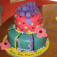 "Wacky-Tacky Sweet 13 The teenager-to-be wanted a wacky tacky cake with these colors. She also wanted it topsey-turvey, but that one was an ""epic failure&..."