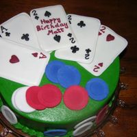 Poker Cake Cake is covered in buttercream. Cards are made of color flow and poker chips are fondant.
