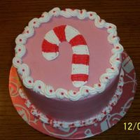 "Candy Cane Cake 6"" chocolate mint cake with bc icing."