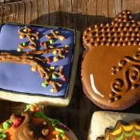 "Fall Cookies  Chocltae sugar dough, and sugar cookies w/RI. Some new fall ideas I have been playing with inspired from ""Nancy's Fancy Cookies&..."