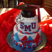 Graduation Cake Buttercream with fondant and chocolate transfer work. grad cap was out of rice krispie. Mt first time to play with the clay gun for the...