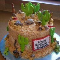 "Desert And Reptile Birthday This is a one of two cakes that I did for twin 5 year old boys. They were having a ""reptile"" birthday party and so this is what I..."