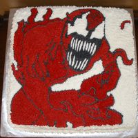 Carnage For Spiderman This was made for my sons best friend birthday. Another cake I could not have done without my husband and his talent. He drew it and I...
