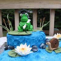 Gumpaste Frog, Snail And Waterlily
