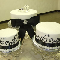 Shower Cakes. buttercream frosting with black accents. this was for my nephews bride to be bridal shower.