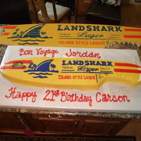 Landshark Surf Board made for my sons 21st. and his friends going away.