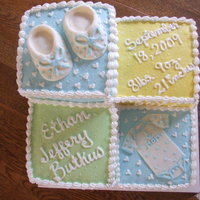 Baby Shower Cake buttercream frosting with fondant accents.
