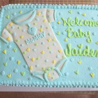 Baby Shower Cake This is a buttercream cake with the onsie in MMF.