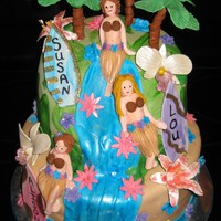 Luau Girls All the decorations are gumpaste and the cake is covered with mmf, thanks for looking :)