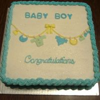 "Baby Boy Shower Cake 10"", all buttercream with fondant details....a very last minute order..."