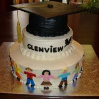 Grad Cake all buttercream with fondant accents