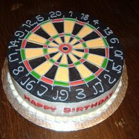 "Dart Board Cake 12"" inch cake, all buttercream with royal icing numbers and 'wire'..."