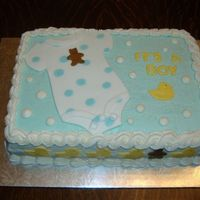 Baby Boy Shower Cake buttercream with fondant details