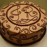 "Chocolate Scroll Work For a shared birthday celebration--two people with the initials ""JR."" Mmmm... chocolate! Dark chocolate buttermilk cake filled..."