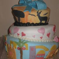 "Africa & Israel Themed Topsy-Turvy 6"", 8"", 10"" topsy turvy cake. 6"" coconut cake with lemon filling, 8"" carrot cake with orange filling, 10""..."