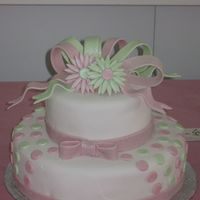 "Pink & Green Batmitzvah Cake 10"", 6"" chocolate cake with vanilla filling & frosting. Covered in homemade fondant. All fondant details, painted in pearl..."