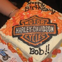 Harley Davidson Fbct Stacked square cake, BC icing, HD logo FBCT (my first!). I got a little carried away with the flames but overall I was very happy with it...