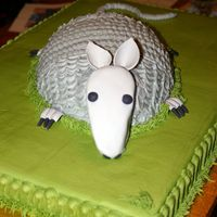 Armadillo Groom's Cake This is my one and only attempt at an armadillo cake. I used a football pan for the body. Everything except the head and feet is iced in...