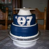 Class Of '07 Both Tiers WASC w/ Raspberry filing. Royal Blue MMF coverd w/ Sparkle Dust. All fondant decorations. And last, noticeable bulging. Thank...