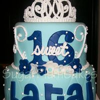 "Sweet 16 8"" and 10"" double layer chocolate WASC. Buttercream dream filling. Accompanying cupcakes."