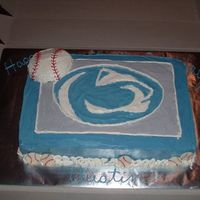Penn State Nittany Lion/baseball Cake This was for a 9 year old who loves Penn State and Baseball. We came up with this idea to combine the two. Cake is iced in IMBC and the...