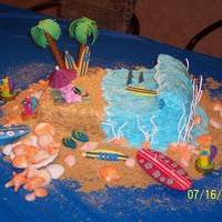Surfboard Birthday Cake  This cake was for an avid surfer. The surfboard is a replica of his favorite board. I used buttercream icing. The shells are chocolate and...